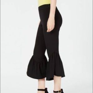INC Womens Flare Leg Mid-Rise Cropped Pants Black